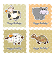 Birthday card set with animals vector