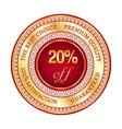 Label on 20 percent discount vector