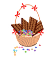 Brown basket of milk chocolate and chocolates bar vector