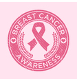 Breast cancer awareness rubber stamp icon vector