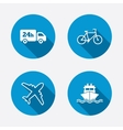 Cargo truck shipping bicycle delivery service vector