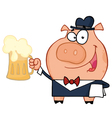 Waiter pig with beer vector