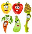 Funny cartoon cute vegetables peppers asparagus vector