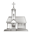 Church in engraving style vector
