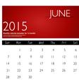 Simple 2015 calendar june vector