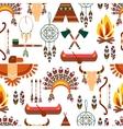 Seamless pattern american tribal native symbols vector