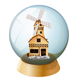 A crystal ball with a wooden house vector