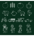 Farm icons set outline vector