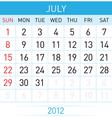 July calendar vector