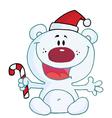 Christmas polar bear holding candy cane vector