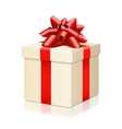 Gift box with red ribbon isolated on white vector