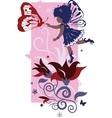 Fairy little girl silhouette vector