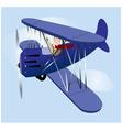 Flying vintage airplane vector