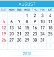August calendar vector