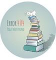 Rabbit on a pile of books - error 404 vector