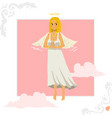 Angel girl greeting card vector