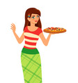 Girl holding plate with tasty pizza vector