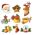 Christmas icons colored set vector