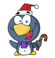 Penguin holding candy cane vector