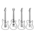 Silhouettes of electric guitars isolated on white vector