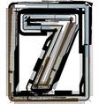 Grunge font number 7 vector