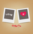 Blank instant two frame photo on background vector
