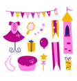Cute elements for little princess party vector