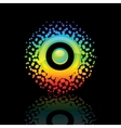 Sign rainbow-sun on a black background vector