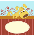 Cartoon animal card with funny dog vector
