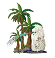 The statue of merlion near the palm trees vector