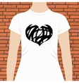 T-shirt template design of a black and white heart vector