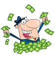 Salesman playing in a pile of money vector