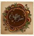 Coffee time decorative border label design vector