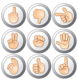 Buttons with hands vector