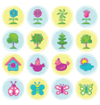 Spring season object icons set hand draw style vector