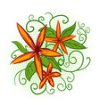 Orange flowers with green leaves vector