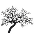 Scary bare black tree silhouette vector