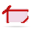 Red gift card with ribbon and bow vector