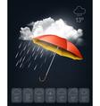 Weather forecast template an umbrella on rainy vector