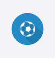Football ball flat blue simple icon with long vector