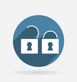 Padlock circle blue icon with shadow vector