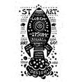 Vintage grunge label with rocket vector
