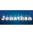 Jonathan written with burning candles vector