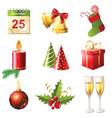 Glossy christmas icons set vector