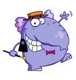 Happy purple elephant vector