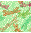 Seamless vintage pattern with dragonflies vector