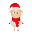 Cute sheep in a christmas hat vector