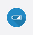 Low battery flat blue simple icon with long shadow vector
