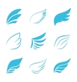 Variety blue wings on white background vector