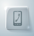 Telephone handset glass square icon vector